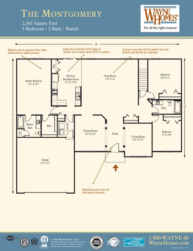 Popular Ranch Style Floor Plans: The Montgomery | Wayne Homes