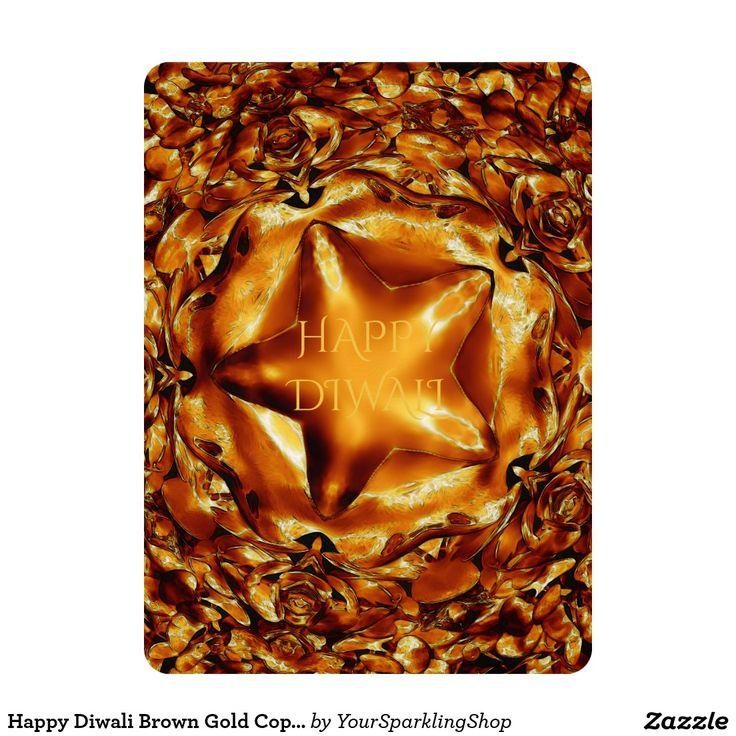 Happy #Diwali Brown Gold Copper Elegant Star Invitation Card
