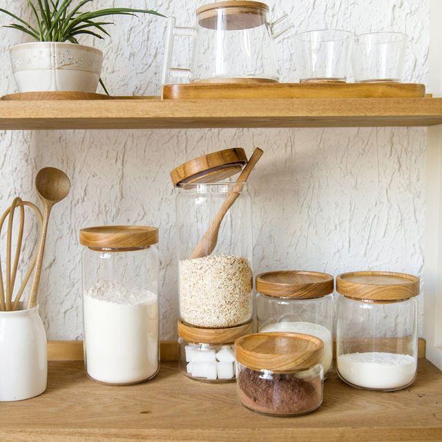 Stile giapponese zakka spezia vaso di vetro contenitori da cucina cookie vasetti  Coperchio in legno 3 pezzi box di stoccaggio spezie vaso della caramella di alta  Qualità