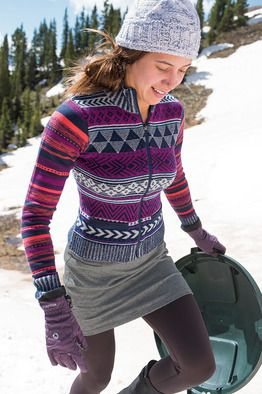 Title Nine: Yarnspinner Sweater - Planning to kick back and tell tall tales after that cross-country ski outing? This ultra-plush sweater is made for the mountain girl with stories up her sleeve. Full zip front and pockets for treasures from the trail. Lambswool/nylon; extra fine Merino wool/poly. <strong>Only @ T9.</strong> XS(2), S(4-6), M(8-10), L(12-14), XL(16).