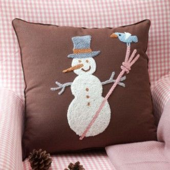 Wholesale Christmas pillow cushion covers. Free shipping 2pcs/lot Christmas festival Snowman design handmade Woolen embroidery Square Pillow cushion cover 45x45cm...