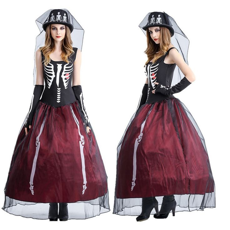 Ghost Bride costume Scary Skull Vampire Queen Long Dress Witch Fancy Dress for Halloween skeleton ghost costume petticoat