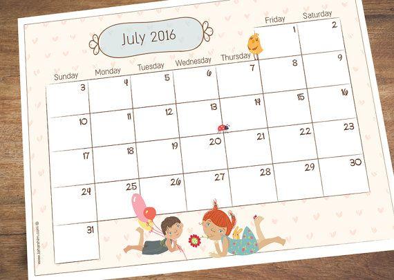 calendar july 2016 planner summer vacation planner summer holiday