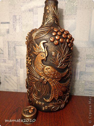 Декор предметов Аппликация из скрученных жгутиков Мой пейп-арт Бутылки стеклянные Салфетки фото 10