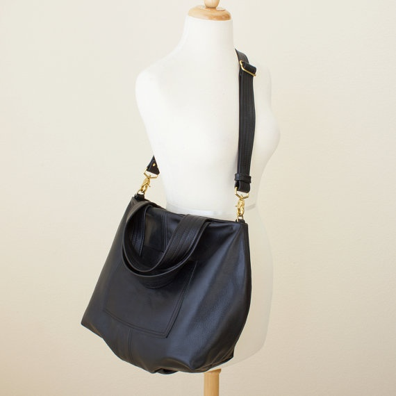 Large Leather Tote / Messenger Bag  Black by JillyDesigns on Etsy