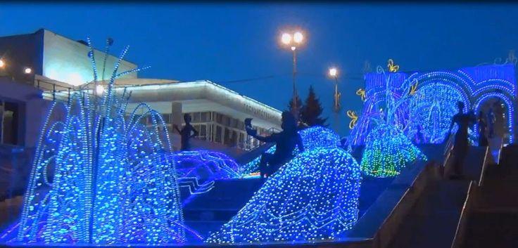 """Красноярск Каскадный фонтан """"Реки Сибири"""" видео Высокой четкости"""
