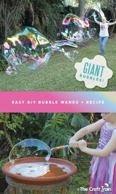 Easy DIY giant bubble wands plus a great recipe for making giant bubbles
