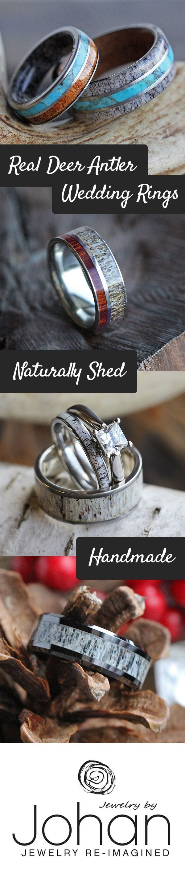 Natural deer antler wedding rings - perfect for outdoor enthusiasts and hunters! #weddingjewelry