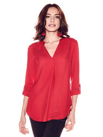 Shop Soho Soft Shirt - Split-Neck. Find your perfect size online at the best price at New York & Company.