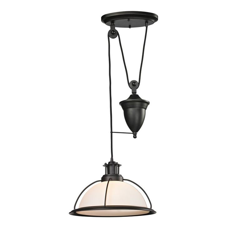 wilmington collection 1 light pulldown pendant in oil rubbed bronze led brown