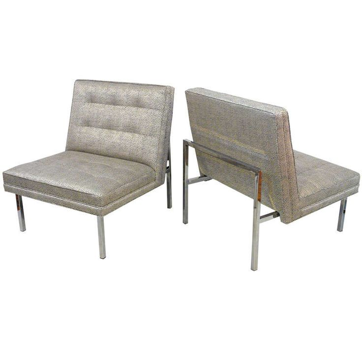 Pair Of Chrome And Upholstered Slipper Chairs