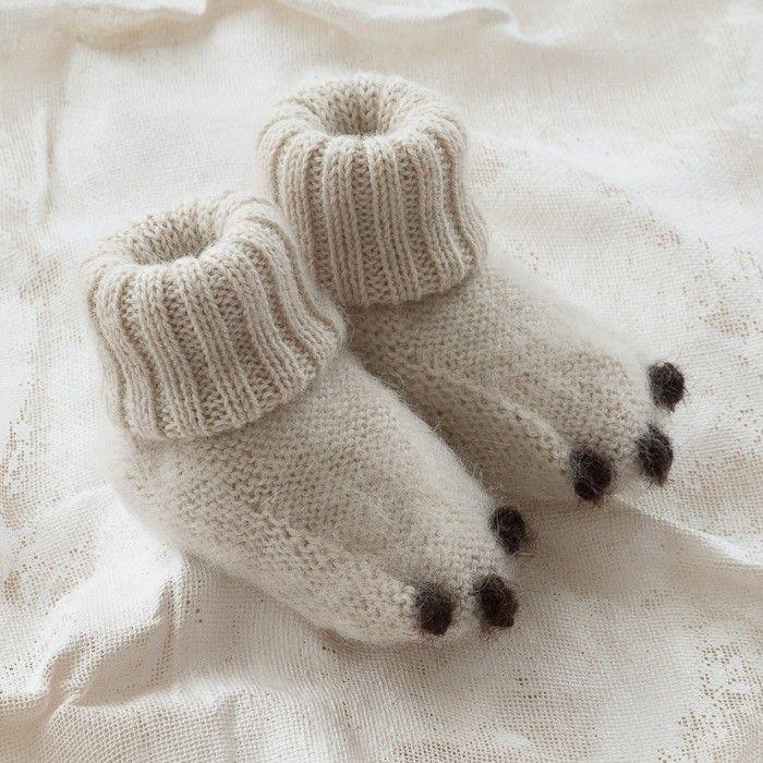 | Baby polar bear booties. |