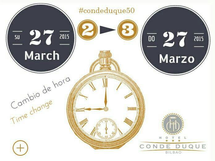 Cambio de hora marzo 2016 HOTELCONDEDUQUE