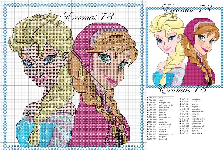 wedding shoes and jewelry Elsa and Anna cross stitch pattern