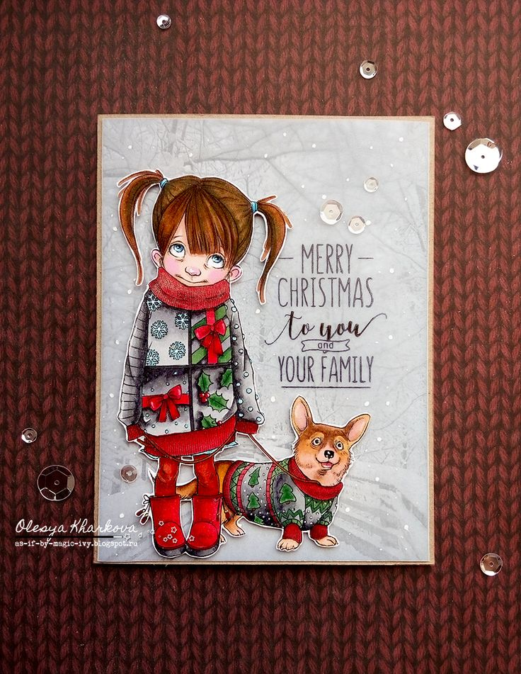 Hello there,  Olesya Kharkova  is here with a Christmas card using absolutely amazing image -  Corgie and Bess - Ugly Sweaters .          F...