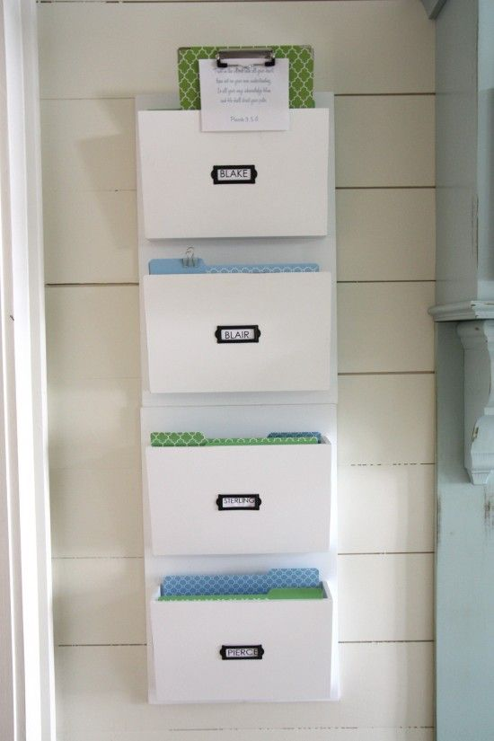 A spot of each family member.  Great idea for incoming mail and papers.