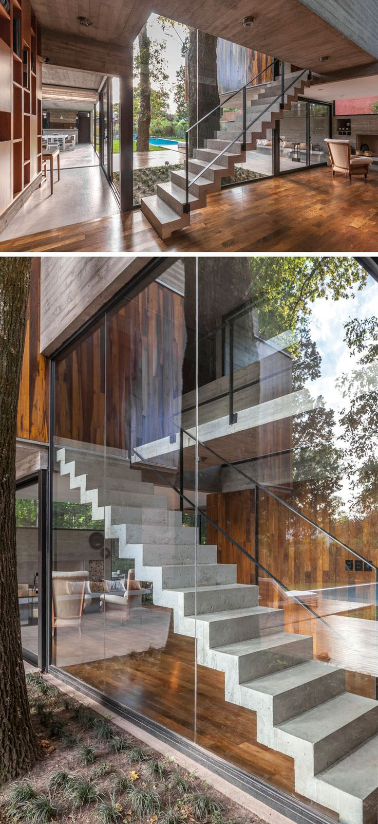 Concrete stairs lead to the upper level of this modern house, while the large windows show off the stairs when viewed from the backyard. #ModernStairs #ConcreteStairs #Windows