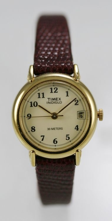 Timex Watch Women Light Date Stainless Gold Brown Leather Water Res Beige Quartz