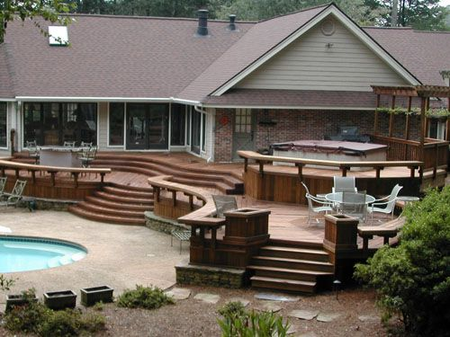 Deck Ideas Pool Deck Design Ideas With Rounded Cantilever Bench