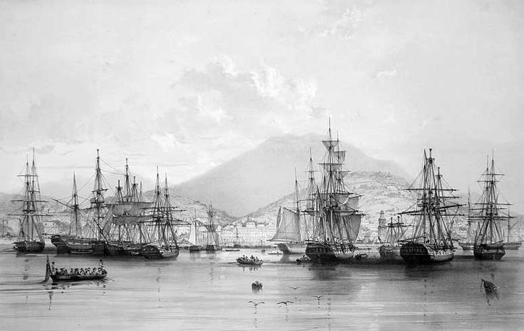 Merchant ships at anchor in Sullivan's Cove, Hobart Town, c. 1838.
