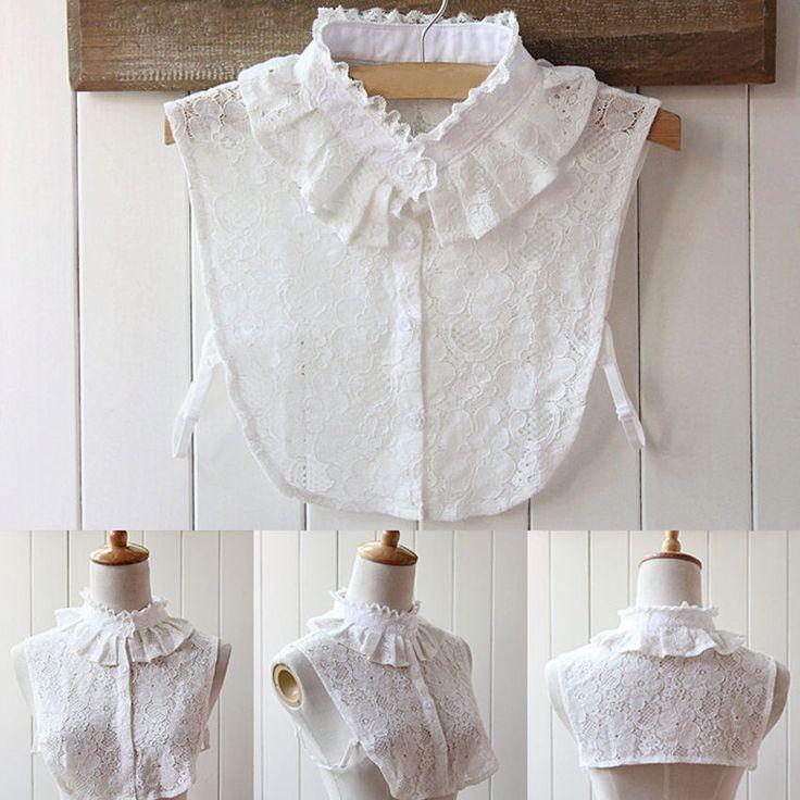 New Fashion Women Fake Half Shirt Blouse Lace Multilayer Collar Detachable Tops #UnbrandedGeneric #Blouse #Casual
