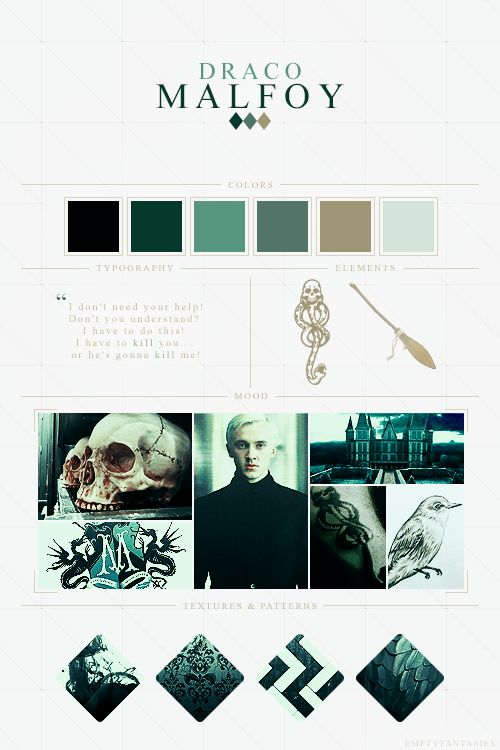 """EmptyFantasies' Character Mood Boards - 4/? """" Draco Malfoy - Harry Potter Series """""""