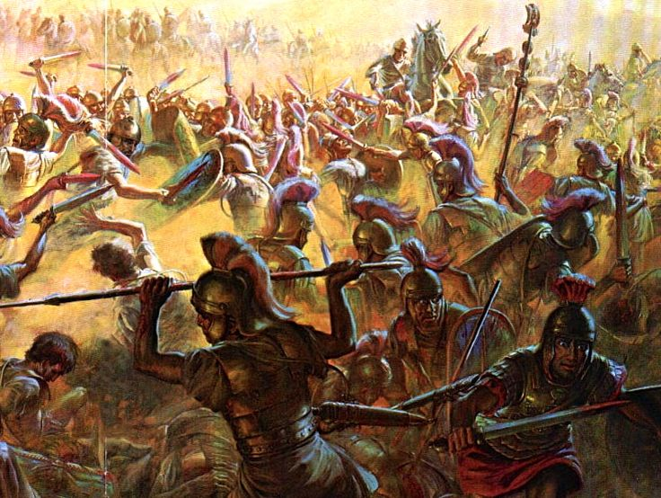 Romans at the Battle of Cannae, a major battle of the ...