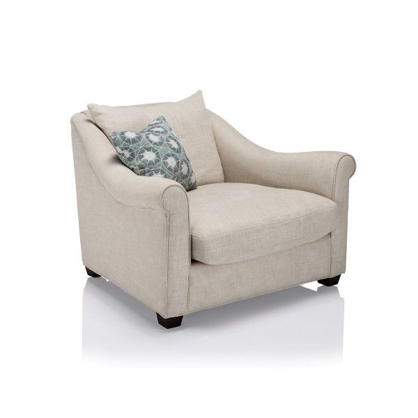 Casual style seating collection with deep-seated comfortable design marked by ample rolled arms and feather cushion.