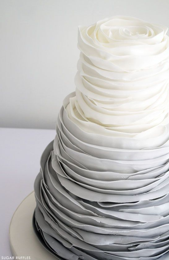 Grey Ombre Ruffled Rose Cake: Sugar Ruffles, Ombre Ruffles, Grey Wedding, Cakes Shadow, Ruffles Cakes, Wedding Cakes, Gray Shadow, Weddingcak, Rose Cakes