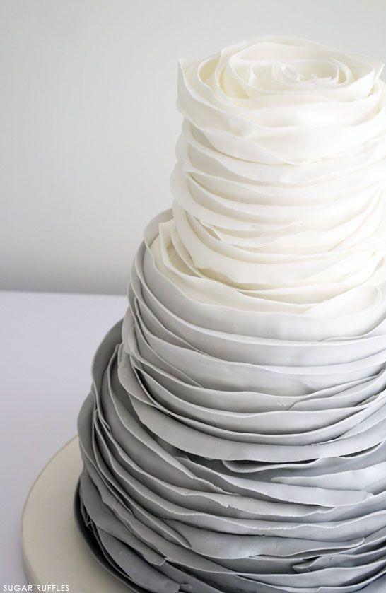 Grey Ombre Ruffled Rose Cake