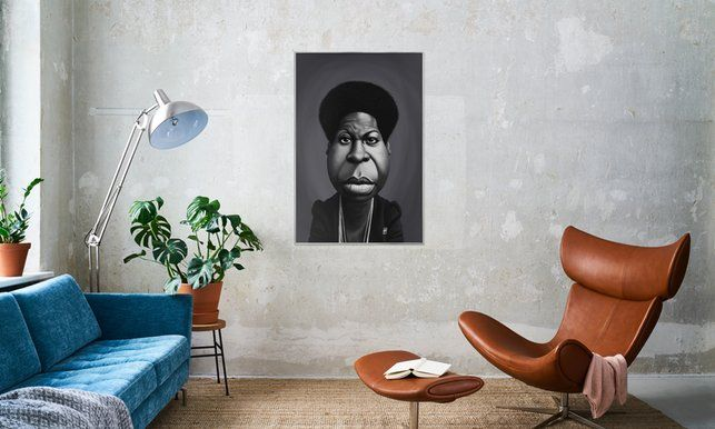 Nina Simone - Rob Snow | Creative - Poster in Aluminium Frame art | decor | wall art | inspiration | caricature | home decor | idea | humor | gifts