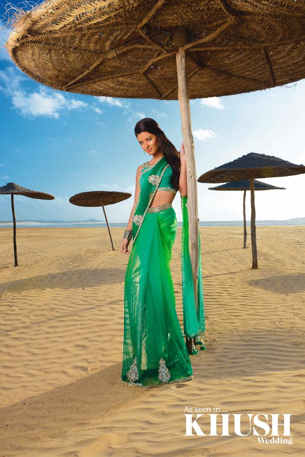 Throw Back Thursday, Check out our photo shoot in #Morocco for World Of Fashion, we love this bright #green #sari  131 Ladypool Road, Birmingham, B12 8LH +44(0)121 440 0890  Hair: Bashir Sabar Earrings: Red Dot Jewels  Cuff: Warehouse  Location: Essaouira beach, Morocco