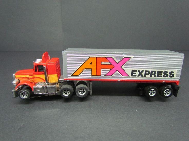 Aurora AFX Red Cab Peter Built Truck w/ AFX Express Trailer #1156 HO Slot Car MT #AFX