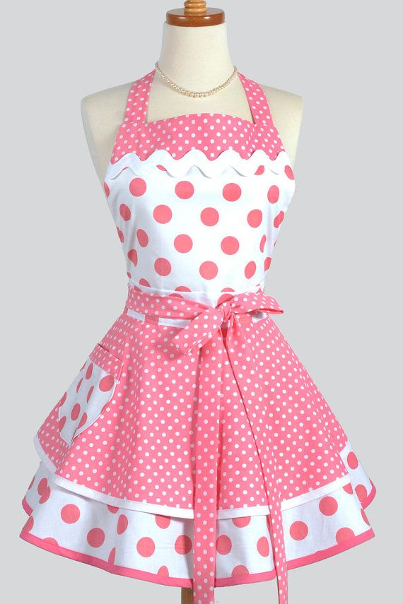Ruffled Retro Apron Sexy Womens Apron in by CreativeChics on Etsy