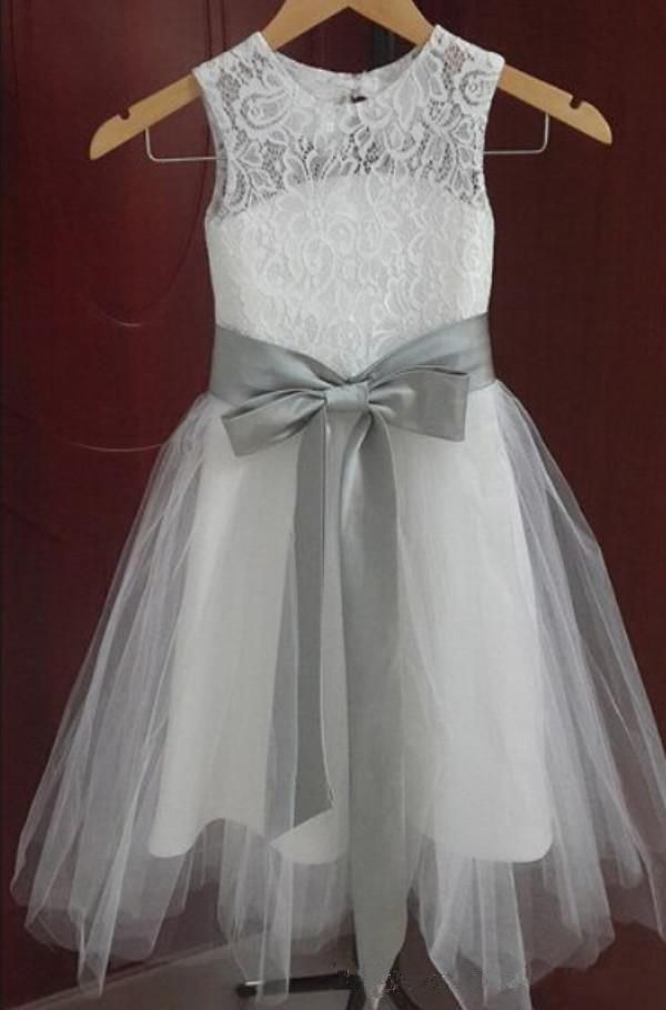A Line Jewel Neckline Vintage Lace Flower Girl Dresses Tulle Little Girl Formal Wedding Party Gowns Silver Grey Sash And Bow Bridesmaid Dresses For Girls Burgundy Flower Girl Dresses From Sweetywedding88, $54.28| Dhgate.Com