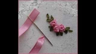 ribbon embroidery stitches by hand tutorial - YouTube