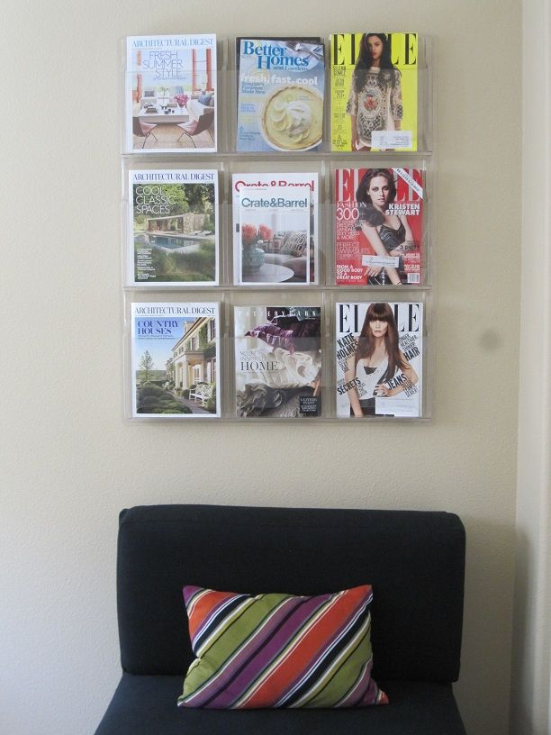 Magazine Organization Ideas for your home (using the plastic magazine wall rack you often see in a waiting room). #magazines #storage #organization #forthehome: Magazine Organization, Hold Magazines, Good Ideas, Books Magazines Display, Interior Ideas, Magazine Racks, Magazine Storage, Magazine Holders, Interiors Ideas