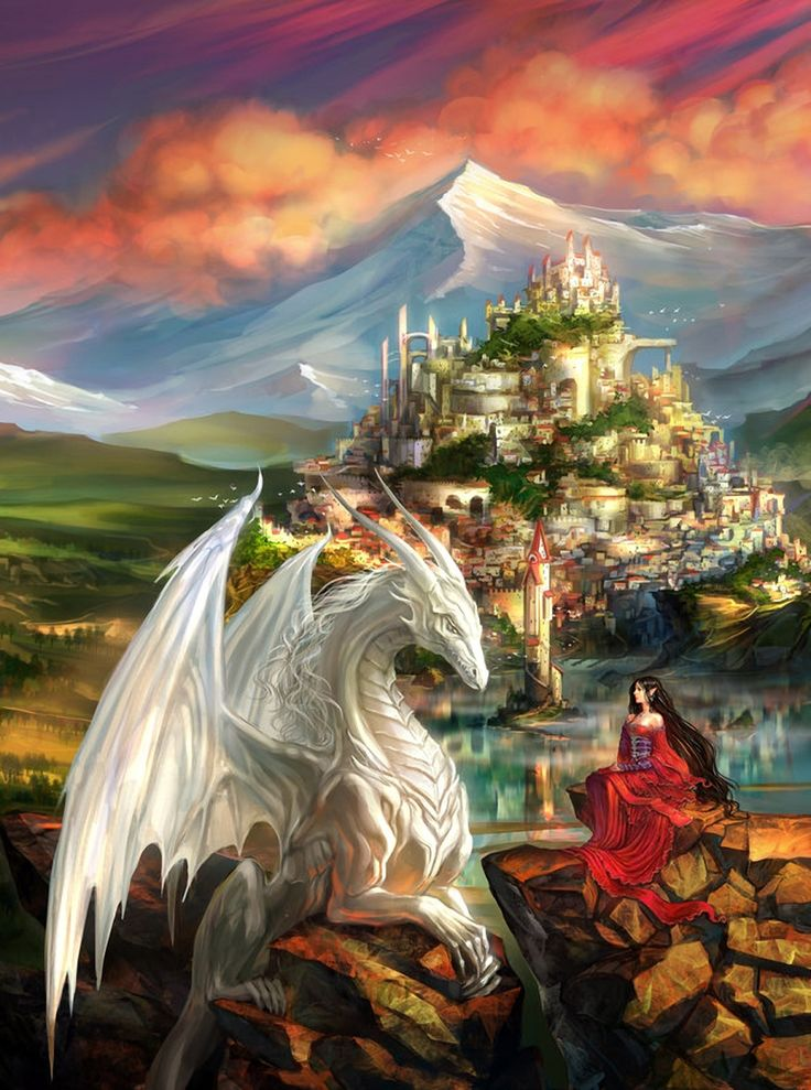 The white dragon and the lady in red, bargaining for the golden kingdom as the sun faded.