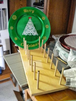 Nothin' Fancy--display stand DH made for my plates at the craft show