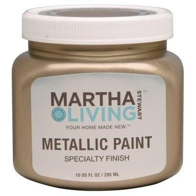 I have the urge to use this paint on an accent wall - Martha Stewart Living 10-oz. Vintage Gold Satin Metallic Paint-259285 at The Home Depot