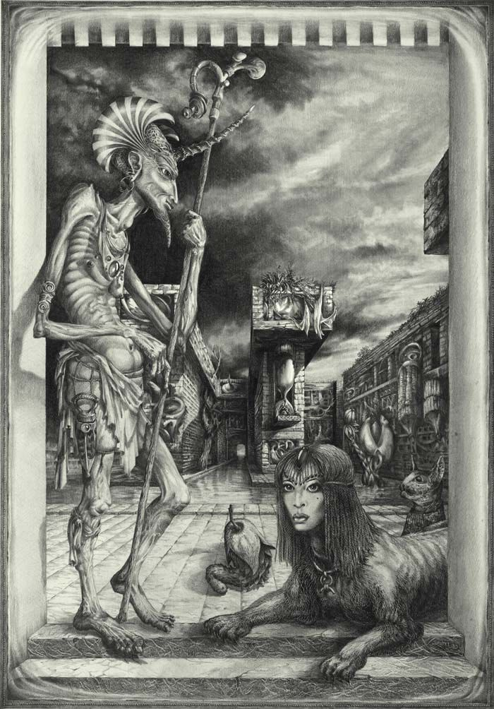 SHEPHERD OF THE SPHINX  - graphite drawing on paper, 1983