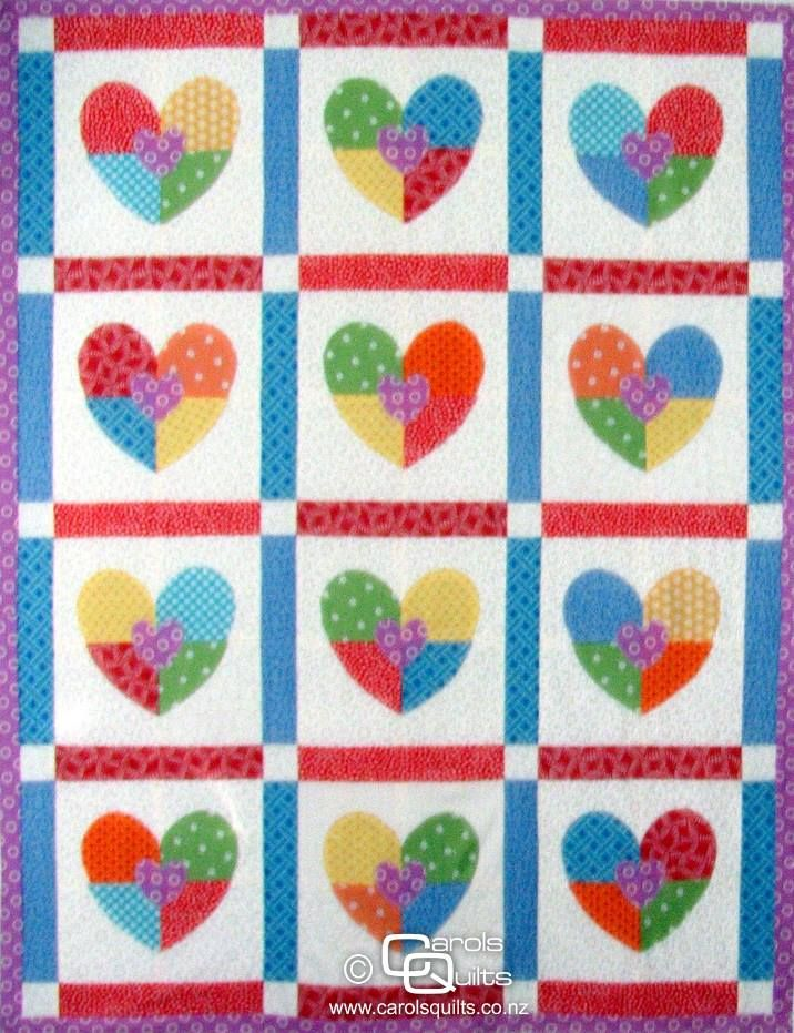Heart Quilting Template - Hearts in Four | Carols Quilts