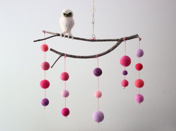 Needle Felted Snowy Owl with Pink and Purple Nursery Mobile or Wall Hanging