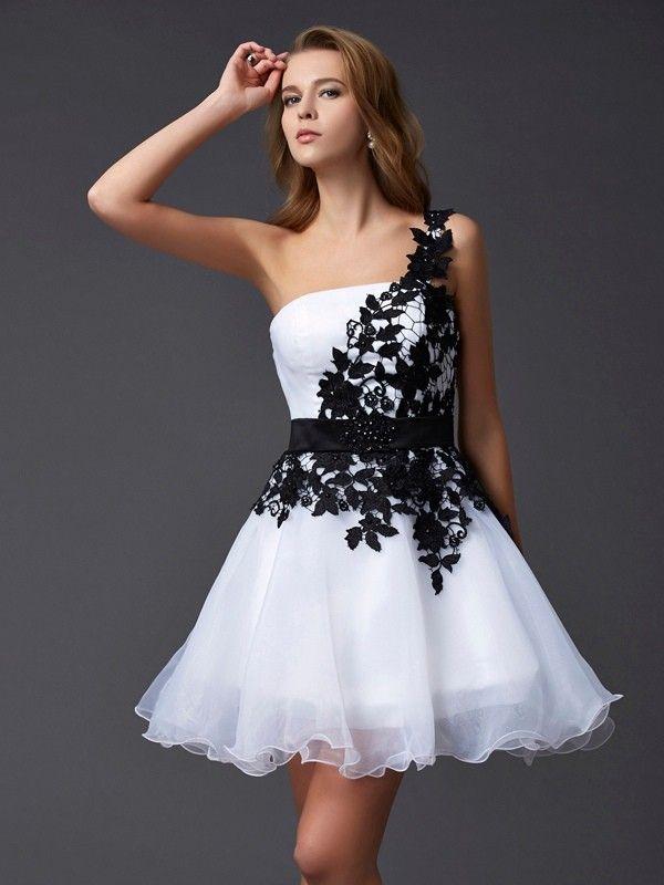 A-line Organza One Shoulder Appliques Homecoming Dress
