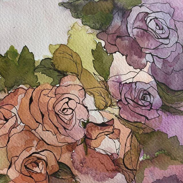 In progress.Rose 15x21cm www.facebook.com/AnnaLipowskaArt (2016)  #inprogress #linework #rose #doodle #abstract #interior #penart #decor #poster #daily_art #sketch #акварель #aquarelle #illustration #drawing #watercolor #painting #ink #art #artwork #ilustrator #artist #arte #scandinaviandesign #modernart #zenart #colorful