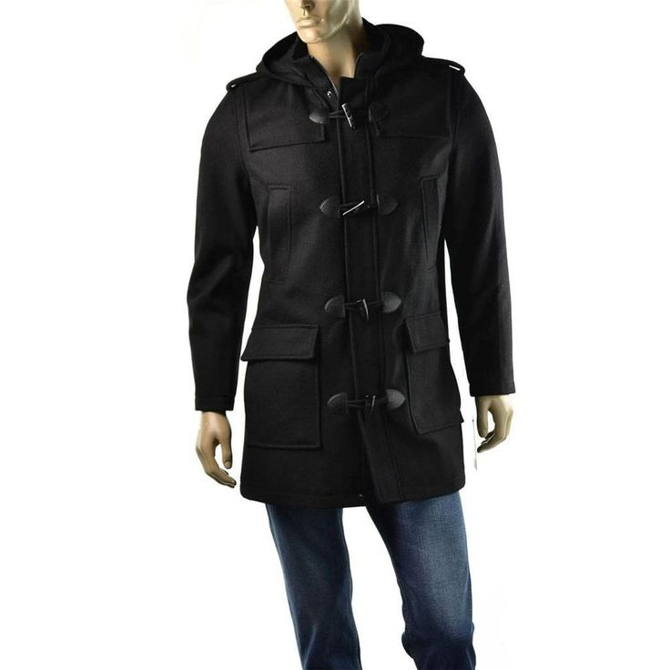 Guess Coat Mens Hooded Wool Toggle Utility Jackets Size L