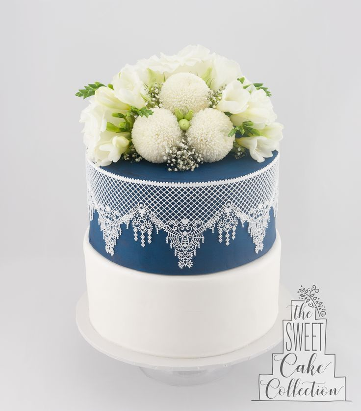 Sapphire and White Lace Cake