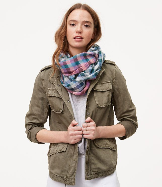 Plaid Infinity Scarf-In super soft cotton, smart plaid adds a tomboy-sweet twist to this lightweight infinity. Love these colors!