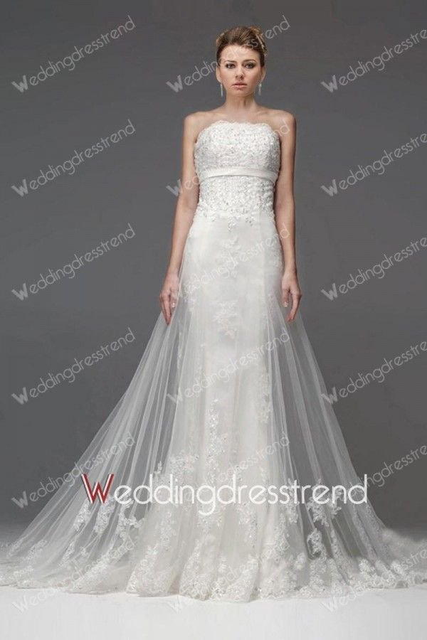 Glamorous Appliqued A-line Strapless Lace Chapel Train Wedding Dress