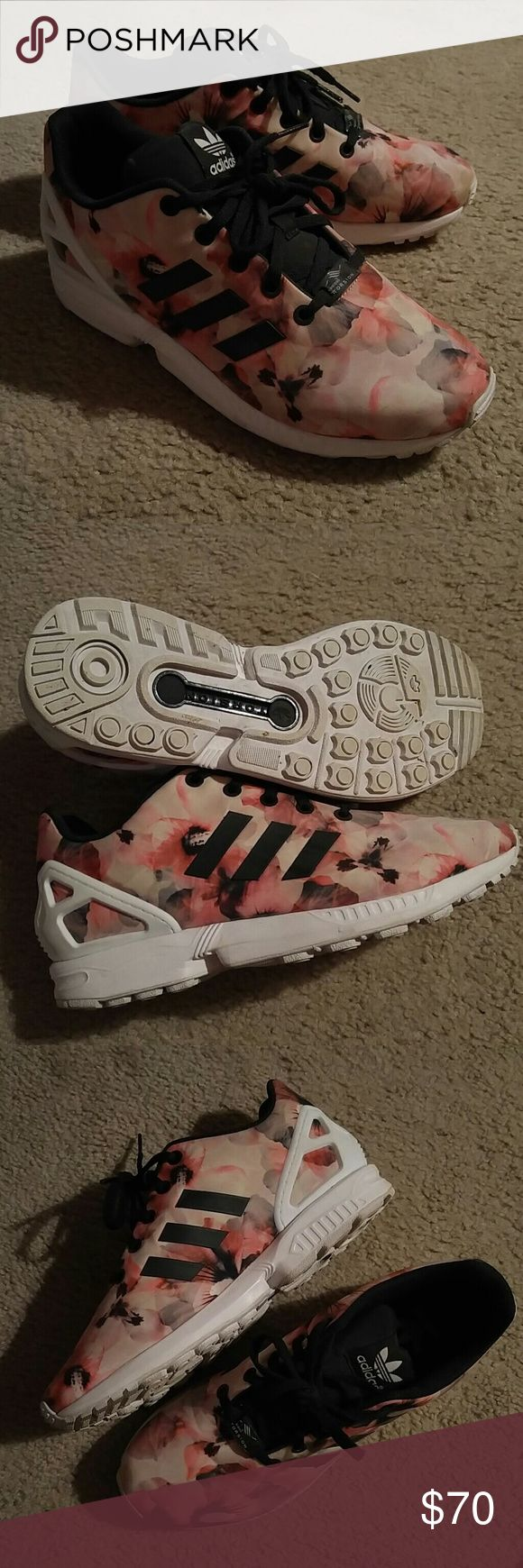Adidas ZX Flux Floral Worn once. Cleaning out my closet. They say US size 6 men's but are like true 8s. Please see picture. Adidas Shoes Sneakers